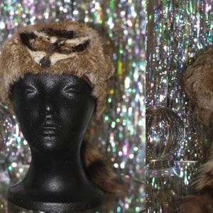 Accessories - Raccoon Fur Coonskin Hat with Raccoon Tail